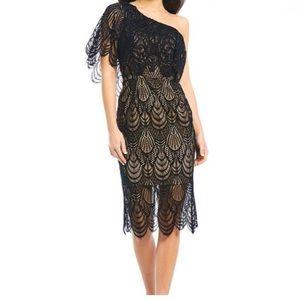 DRESS THE POPULATION black dress mid length size S